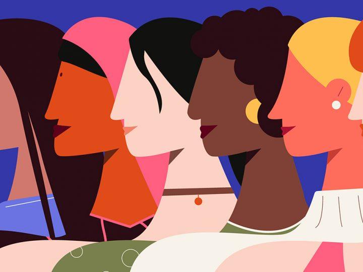 Illustration de 6 femmes à la peau et aux cheveux de toutes couleurs