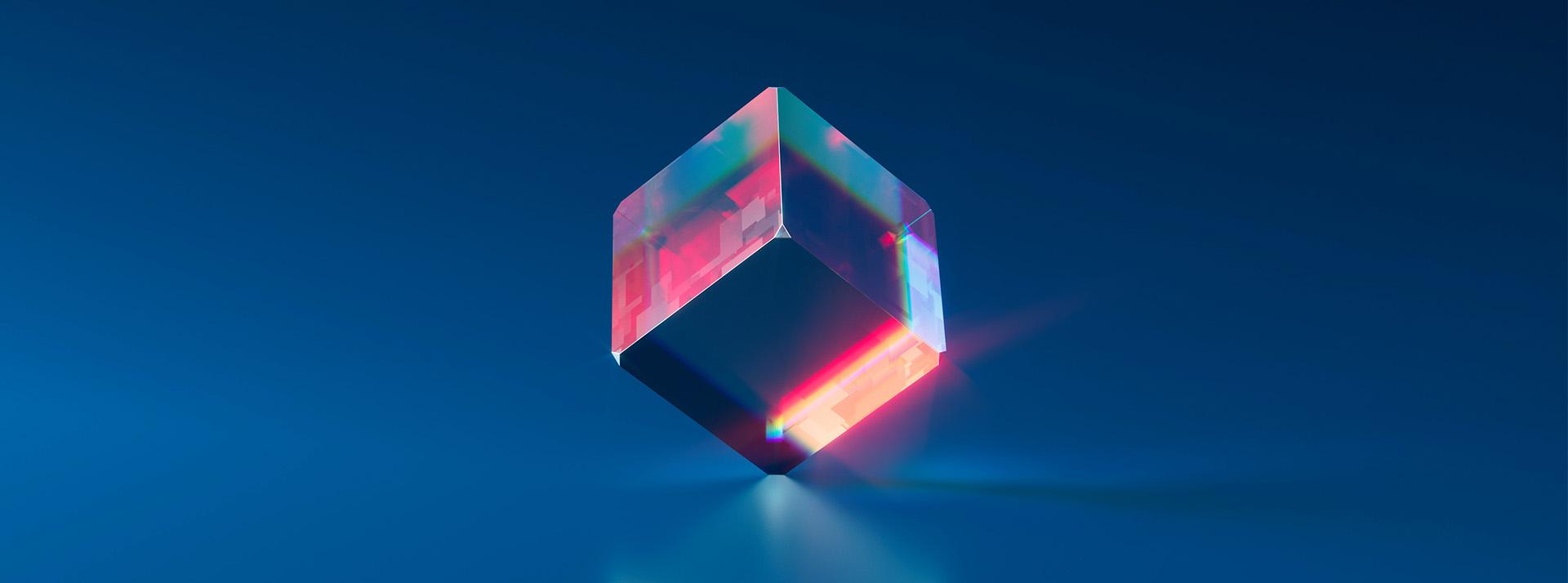 Dé transparent avec reflets colorés